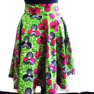 "African Ankara Circle Flared Skirt Sz Waist: 33"""